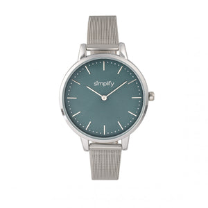 Simplify The 5800 Mesh Bracelet Watch - Silver/Teal - SIM5802
