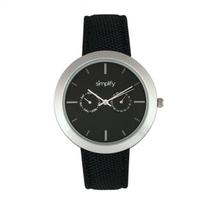 Simplify The 6100 Canvas-Overlaid Strap Watch w/ Day/Date - Black - SIM6101