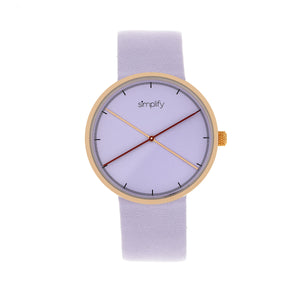 Simplify The 4100 Leather-Band Watch - Rose Gold/Purple - SIM4105