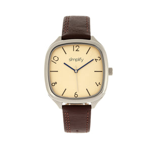 Simplify The 3500 Leather-Band Watch - Silver/Brown - SIM3506