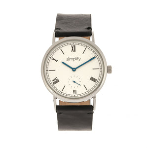 Simplify The 5100 Leather-Band Watch - Black/White - SIM5101