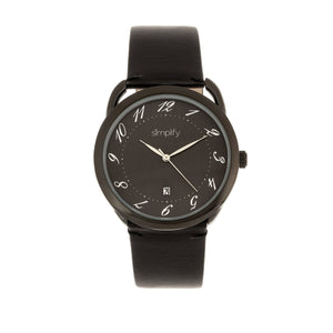 Simplify The 4900 Leather-Band Watch w/Date - Black - SIM4906