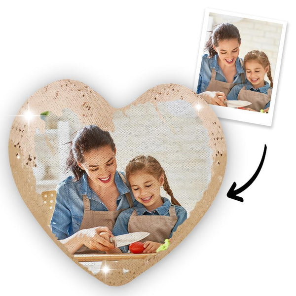 Custom Photo Heart Magic Sequin Cushions Pillow