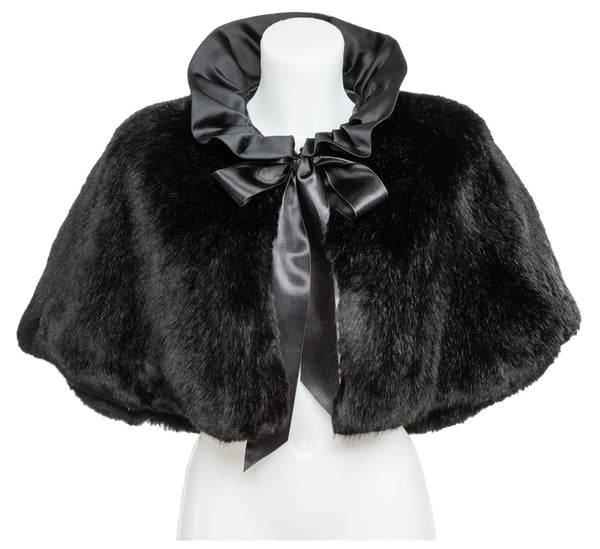 Black Fluffy Fur Cape