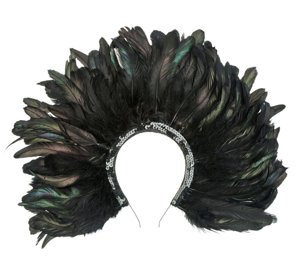 Black Iridescent Feather Headdress