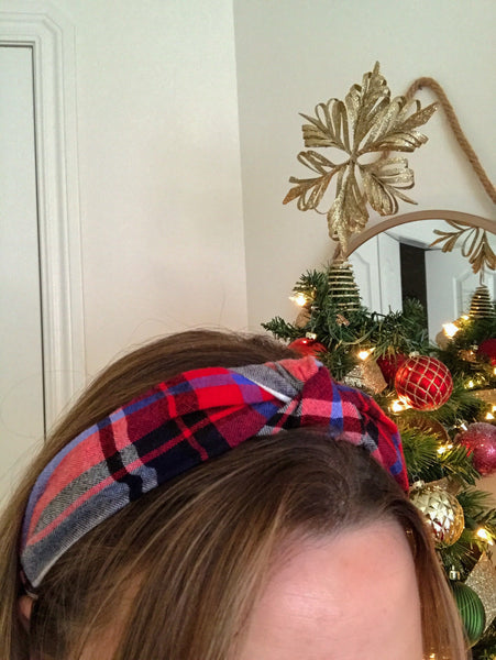 Up-Cycled Red & Blue Plaid Headband