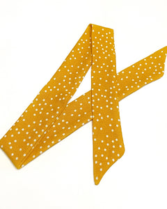 Yellow Polka Dot Linen Hair Scarf