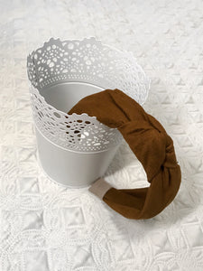 Brown Suede Knotted Headband