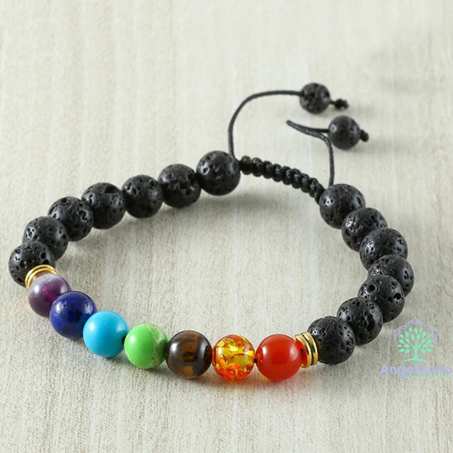 7 Chakra Black Lava 8MM Beads Bracelet Unisex Adjustable