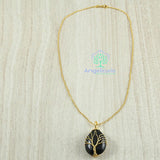 Tree Of Life Stone Pendant Gold Color Metal Chain