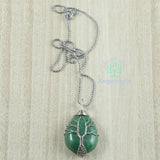 Tree Of Life Stone Pendant With Silver Metal Chain