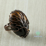 Tree Of Life Natural Stone Adjustable Ring