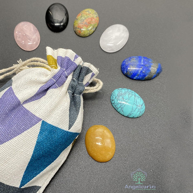 Chakra Oval Gem Stone Set for Health