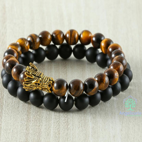 Tiger Eye and Black Lava Dragon Head Bracelet Set