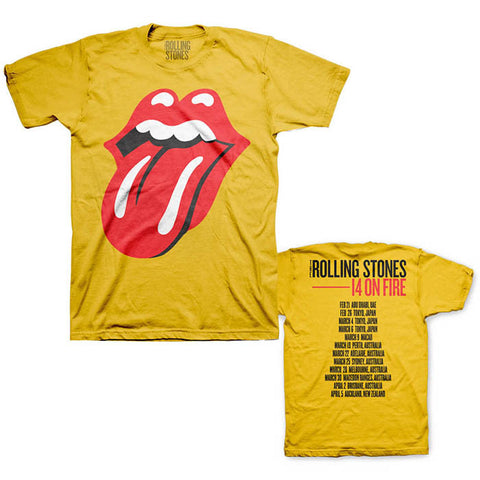 The Rolling Stones Yellow Jumbo Tongue 14 On Fire Tour T-Shirt