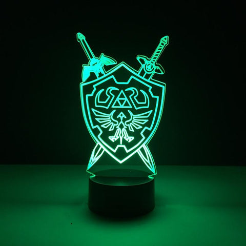 The Legend of Zelda Hylian Shield and Swords 3D LED Lamp 16 Colors