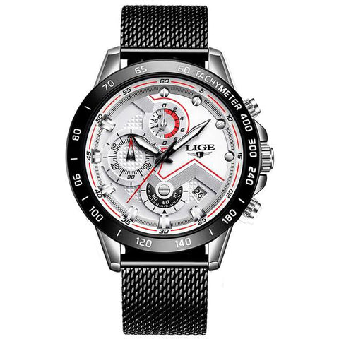 LIGE 2020 Mens Luxury Stainless Steel Watch