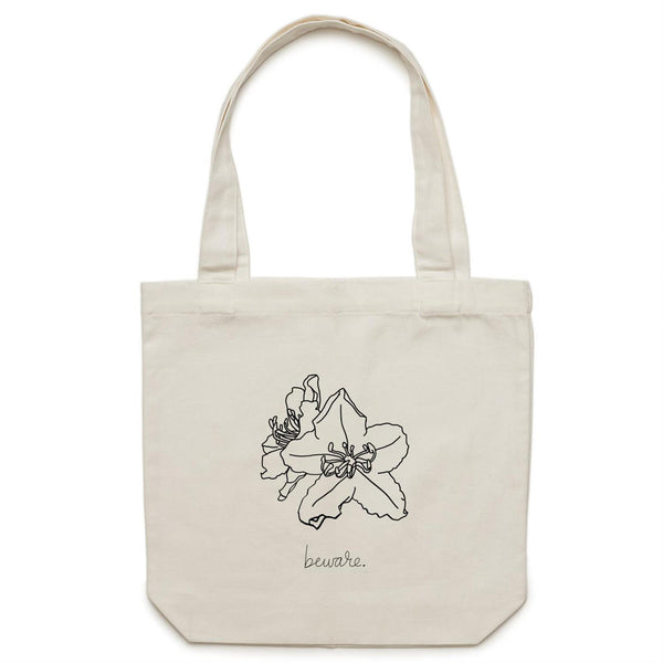Rhododendron Line Art Canvas Tote Bag
