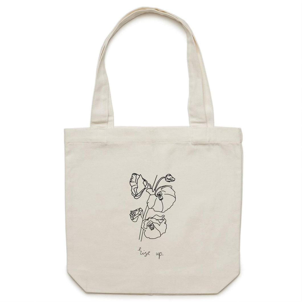 Hollyhock Line Art Canvas Tote Bag