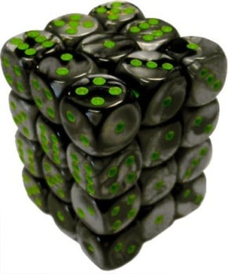 Gemini Black/Green 12mm D6 Set