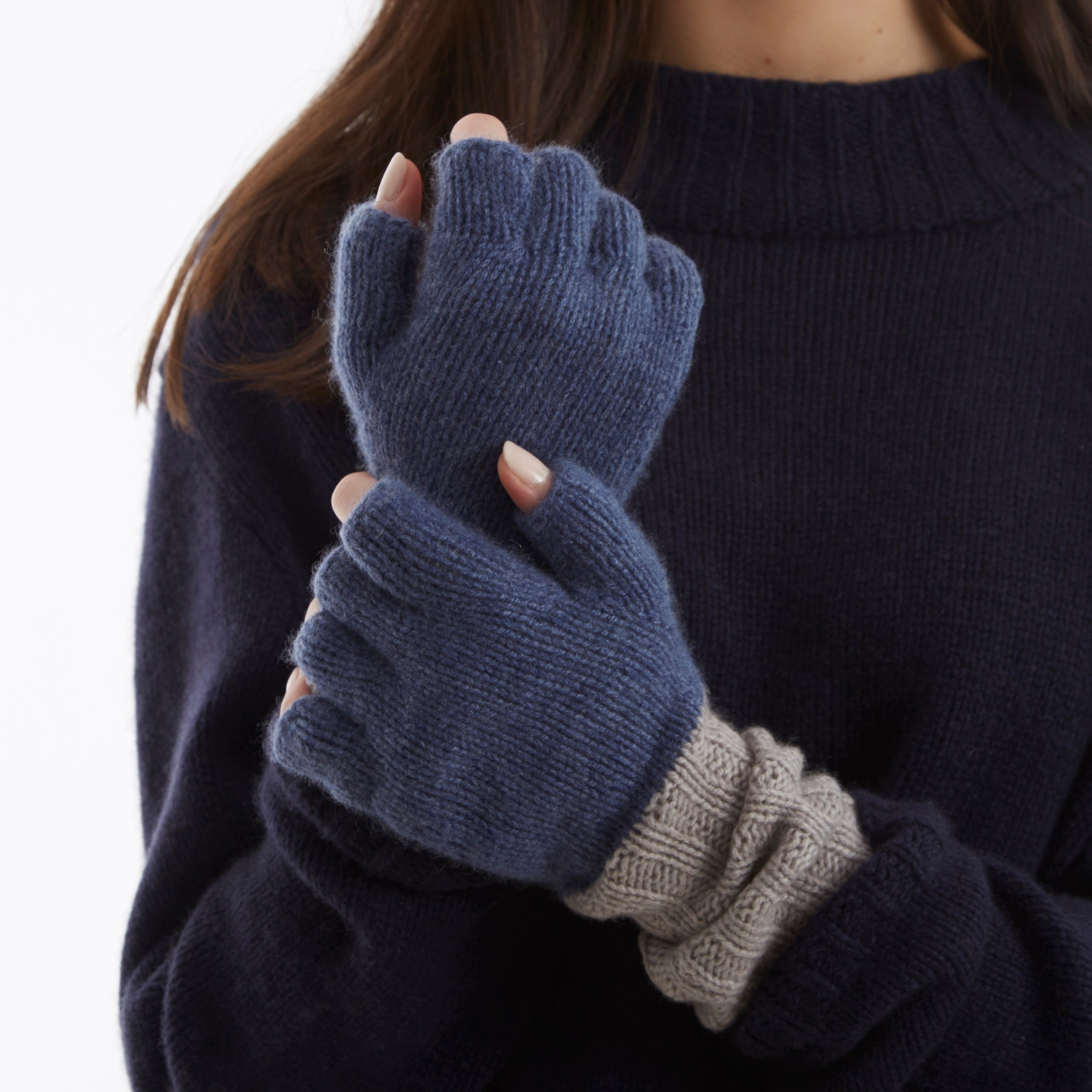 English Weather Denim & Biscuit Cashmere Fingerless Mittens