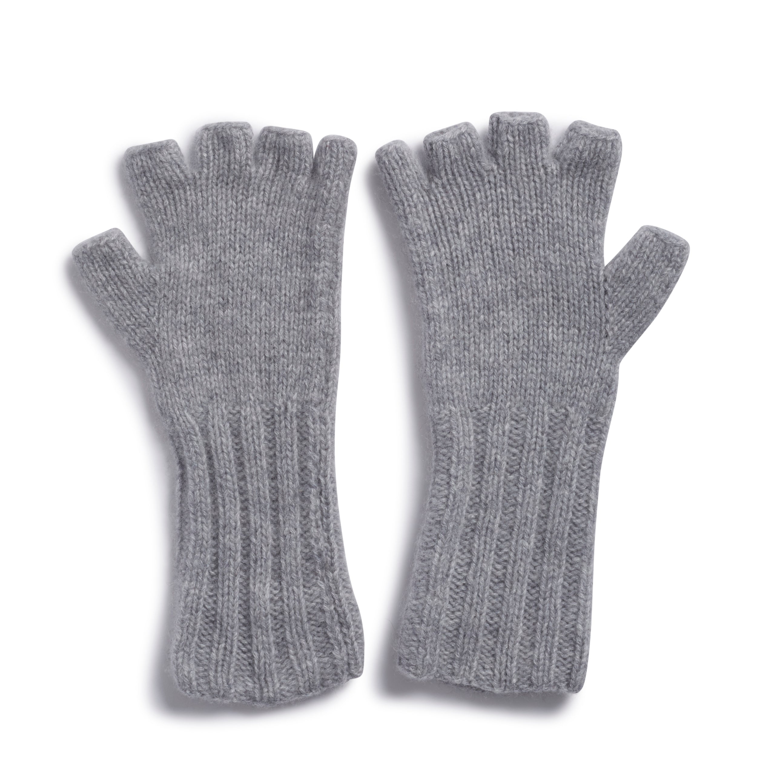 Fingerless Mittens in Silver Grey