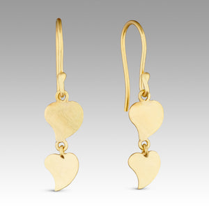 Hand cut 18ct gold hearts, double hinged and set on a hook