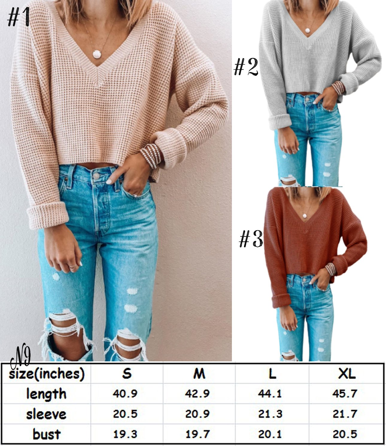 Cropped V-Neck Sweater #1517
