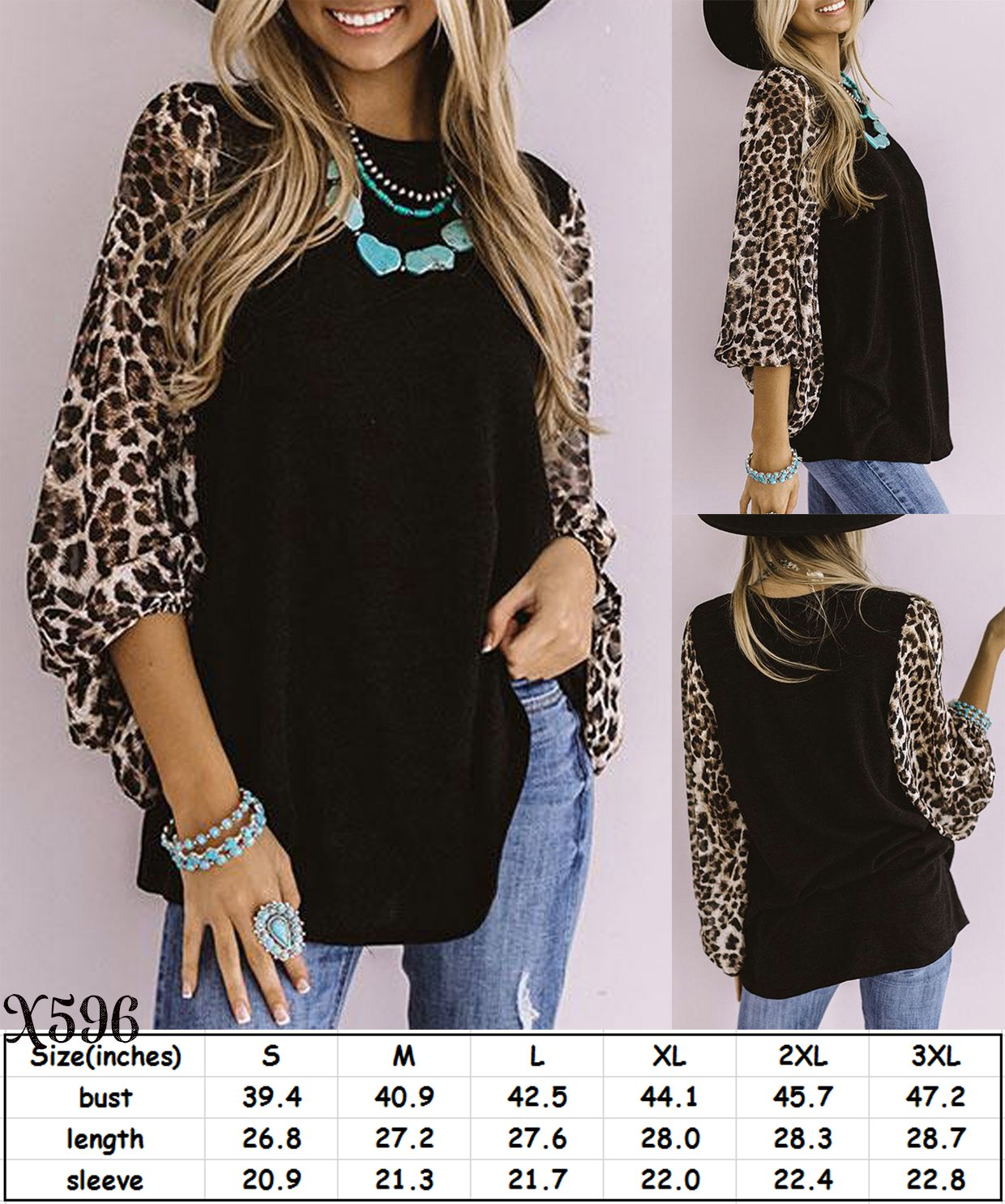 Leopard Sleeve Top #1520