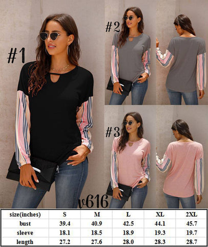 Stripe Sleeve Top #1555