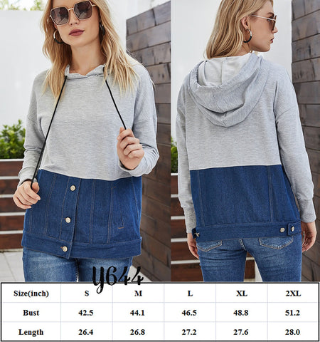 Denim Splicing Top #1551
