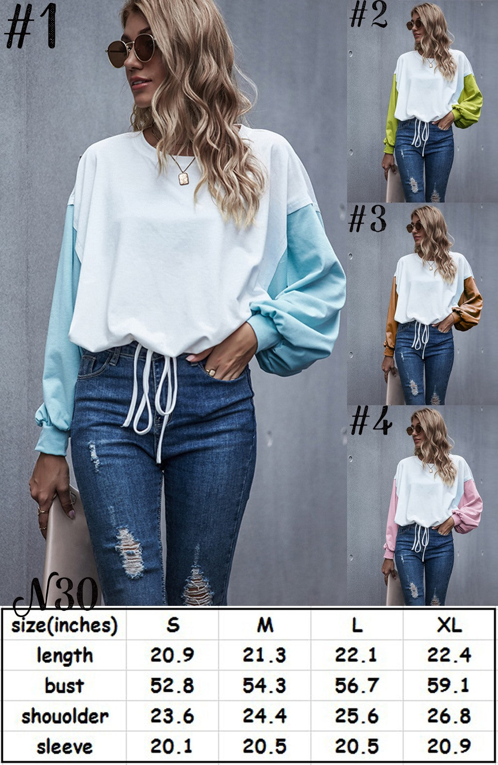 Color Sleeve Top #1544