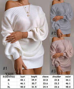 Off Shoulder Sweater Dress #1553