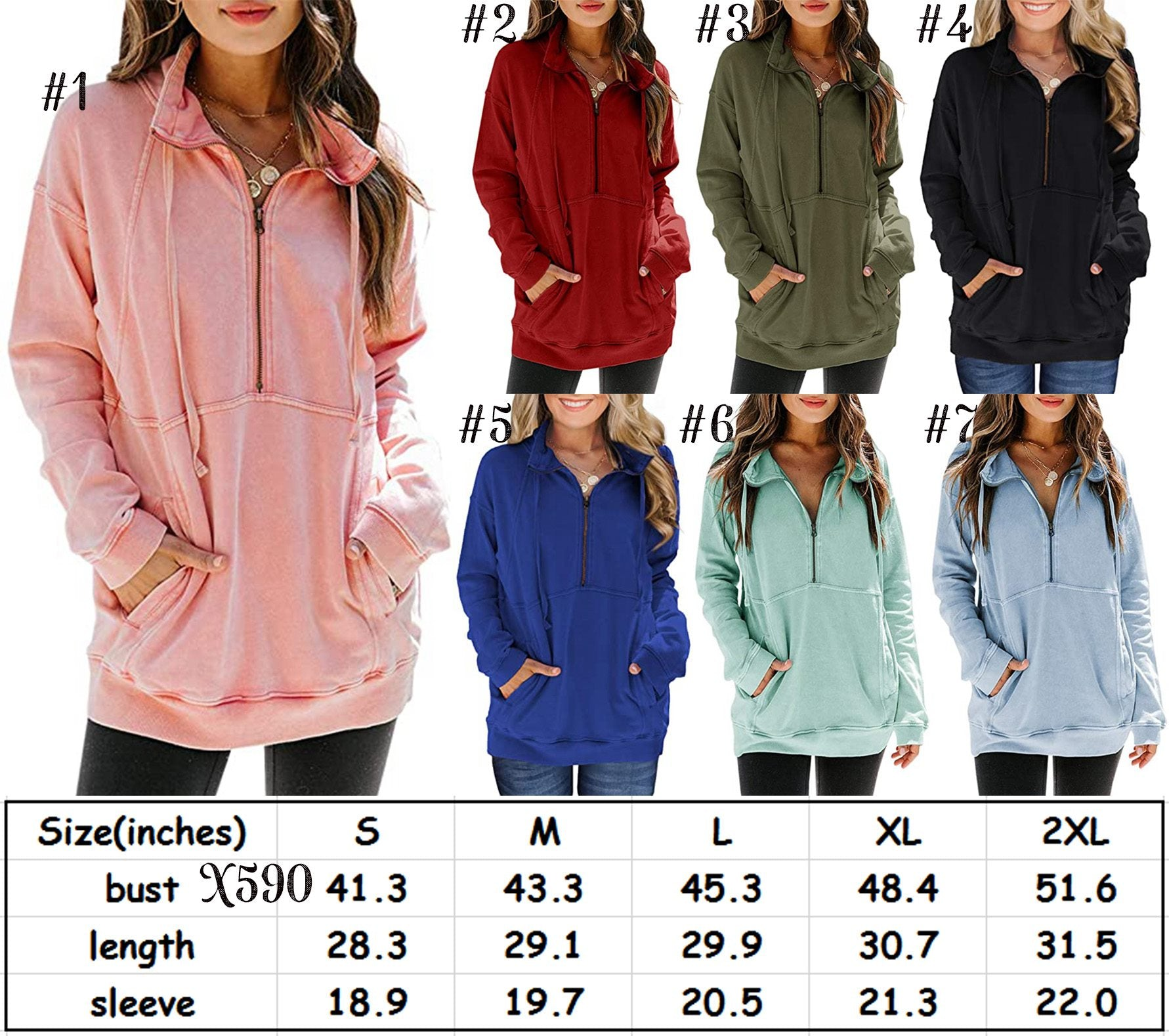 Pocket Zipper Pullover #1488