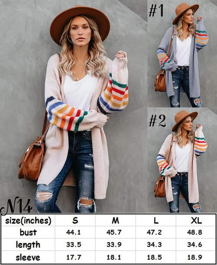 Colorful Sleeve Cardigan #1403