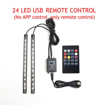 LED Car Foot Light Ambient Lamp With USB Wireless Remote Music Control