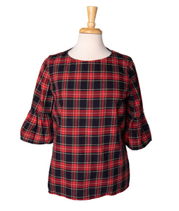 Navy & Red Plaid Lacey Blouse