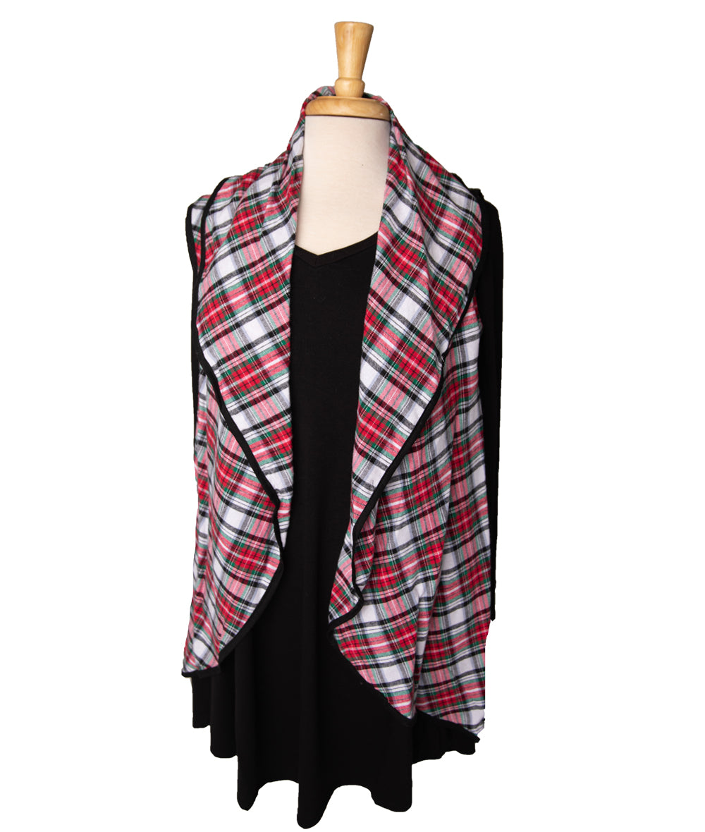 Red, White & Green Plaid Circle Vest