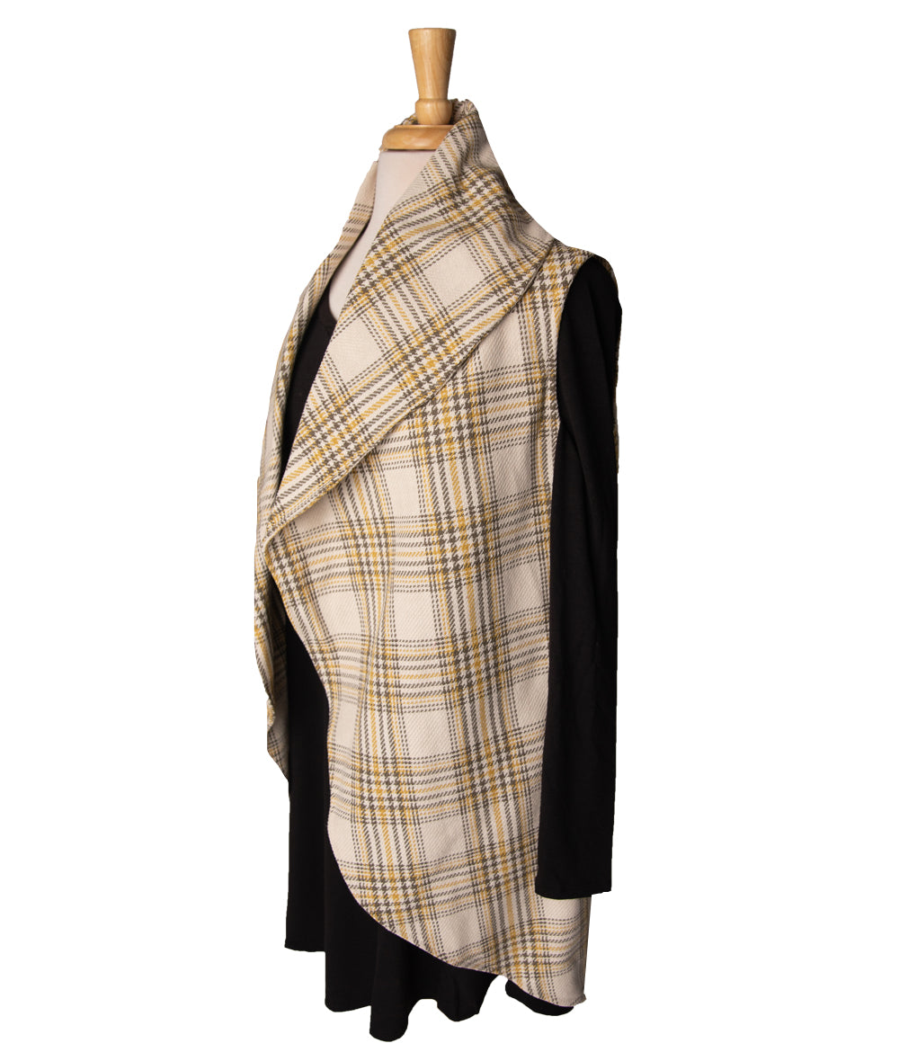 Plaid Cream, Grey & Yellow Circle Vest