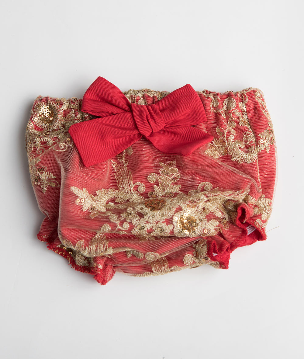 Red Taffeta & Gold Lace Bloomer