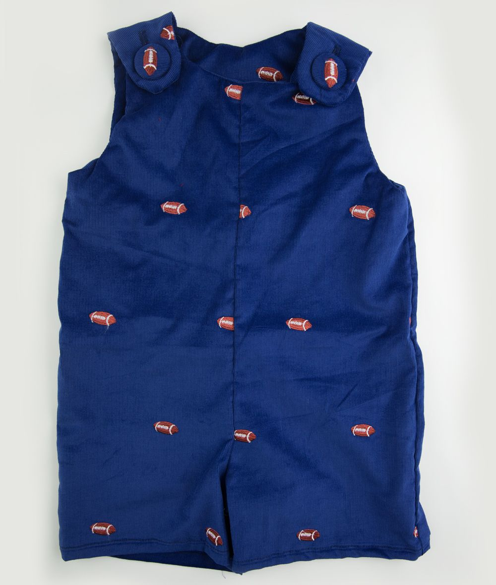 Royal Blue Corduroy & Football Embroidered Shortall