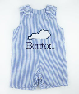 Blue Seersucker Personalized State Applique Shortall