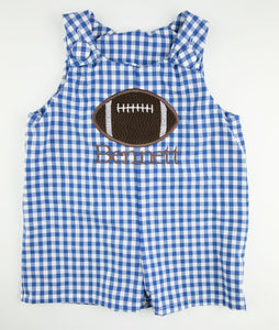 Royal Blue Gingham Personalized Football Applique Shortall
