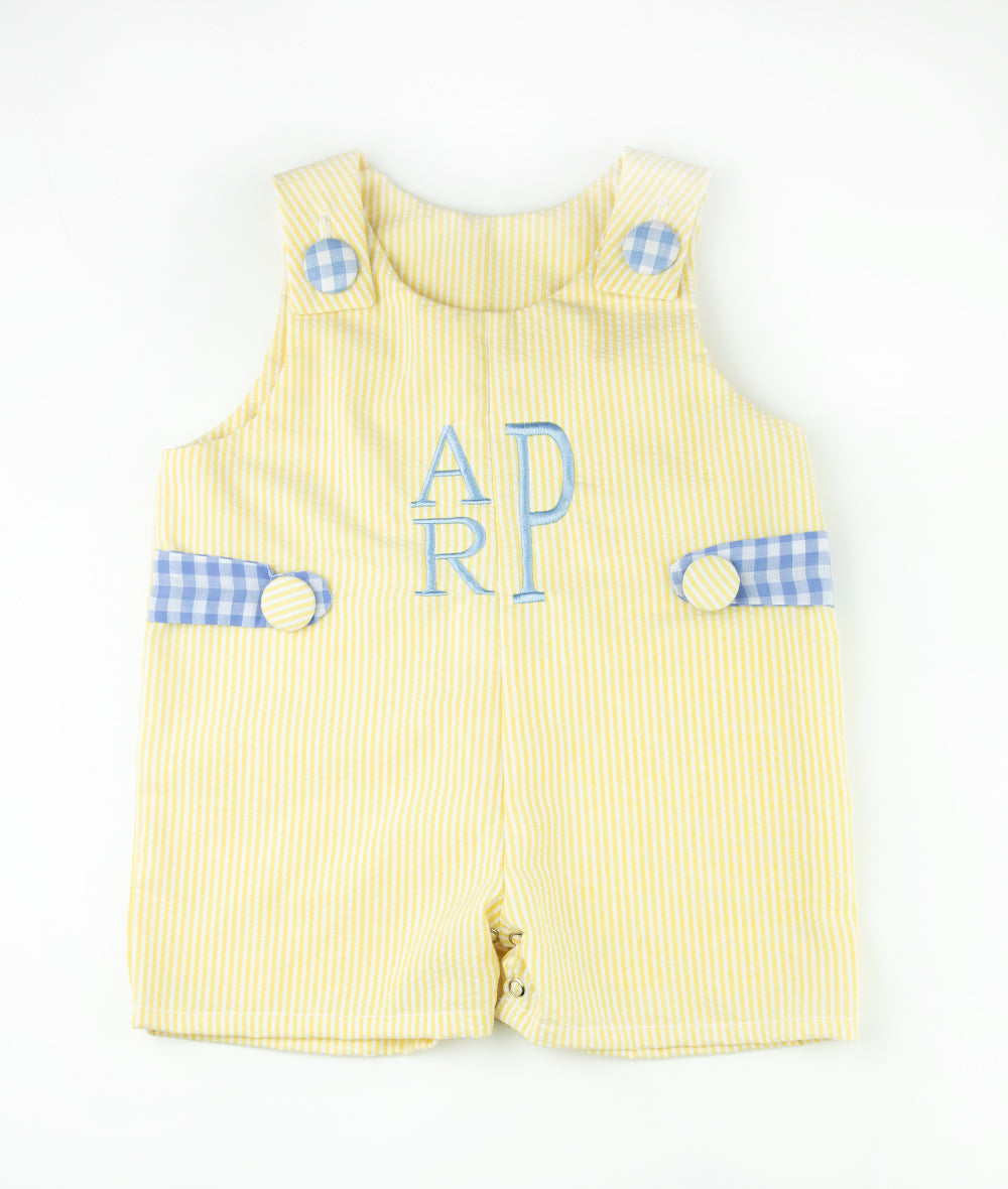 Yellow Seersucker & Blue Tab Personalized Shortall