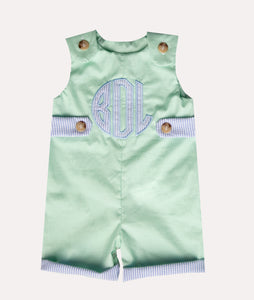 Personalized Blue Seersucker & Mint Cuffed Shortall