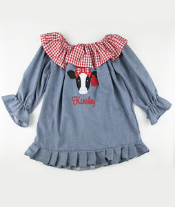 Chambray & Red Checkered Cow Priscilla Dress