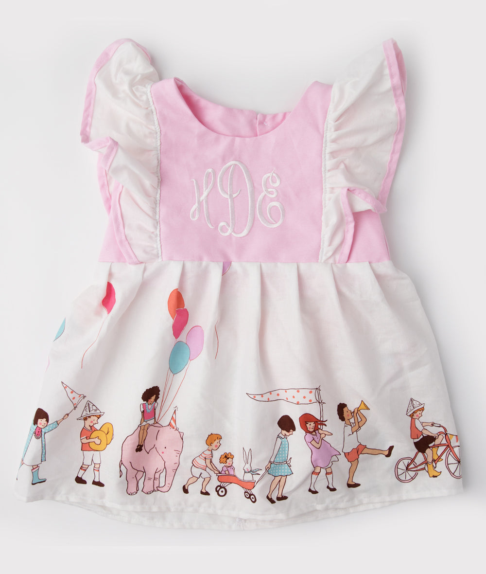 Pink & White Monogram Birthday Pinafore Dress