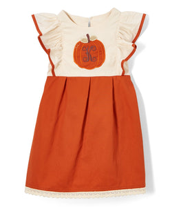 Cream & Orange Initial Pumpkin Pinafore Dress