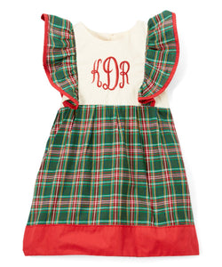 Green Tartan & Red Initials Monogram Pinafore Dress