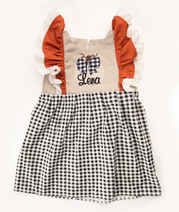 Linen & Black Check Personalized Pumpkin Pinafore Dress